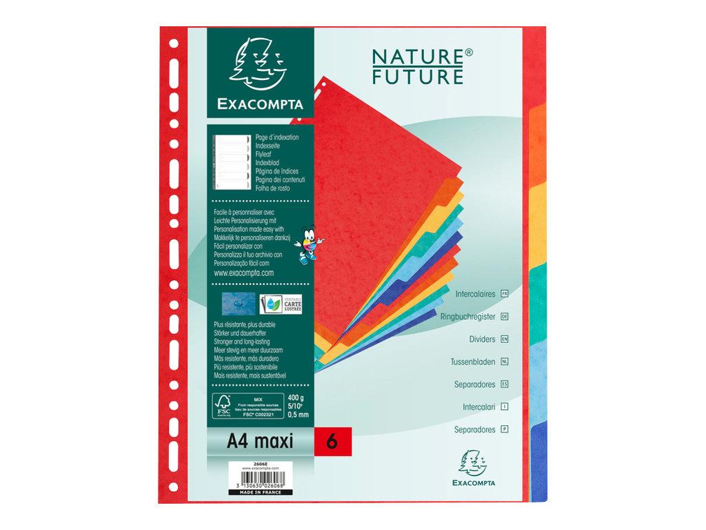 Exacompta Nature Future - Intercalaire 6 positions - A4 Maxi - carte rigide colorée