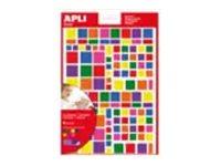 Apli - 6 feuilles gommettes carrées - coloris assortis
