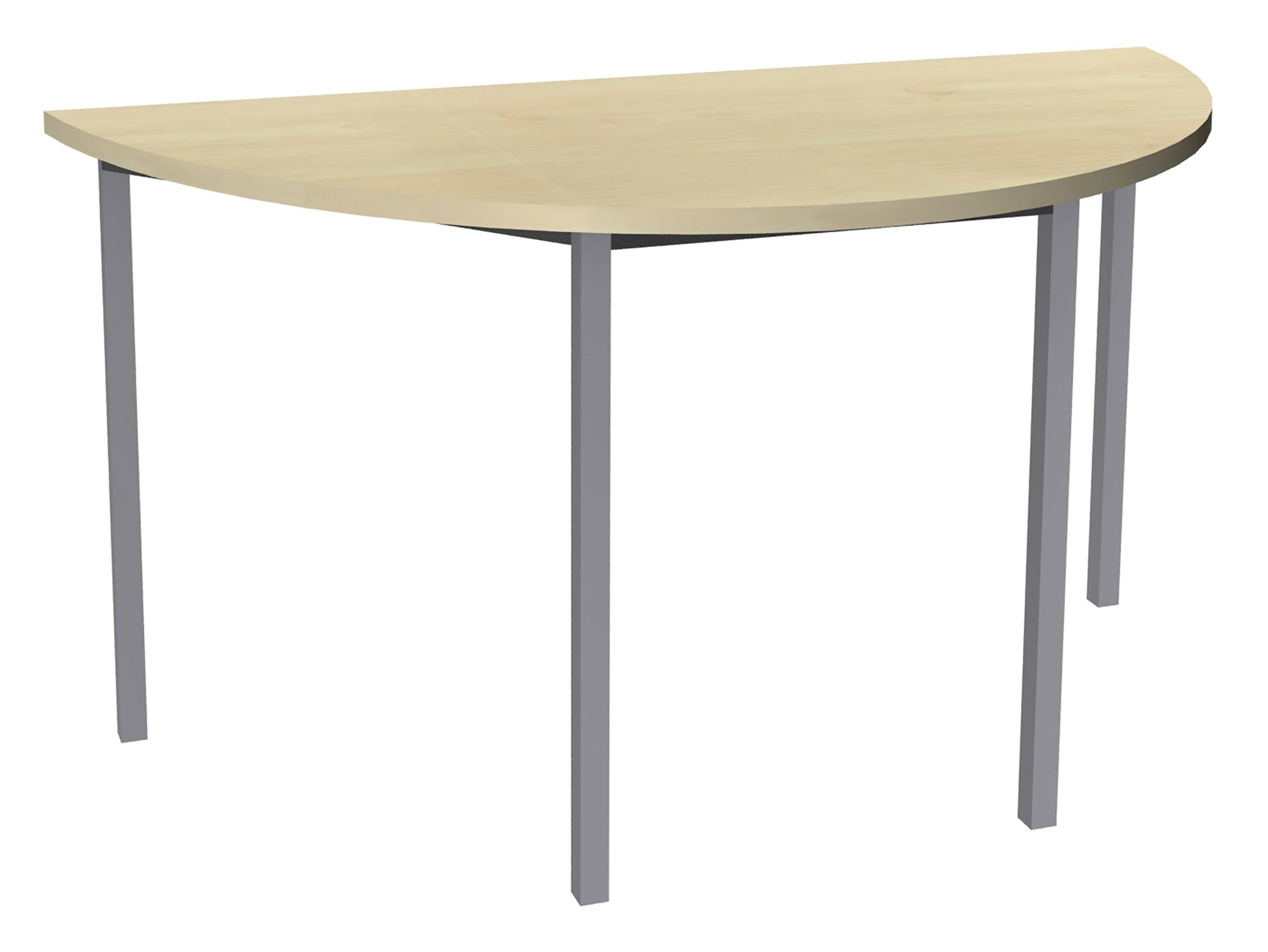 Table de réunion Demi-lune - 120 x 60 cm - Pieds aluminium - imitation érable