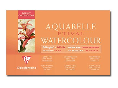 Clairefontaine Etival - Bloc de papier aquarelle - 25 feuilles 10 x 15 cm - 300 g/m²