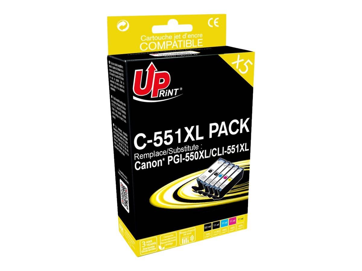 Canon CLI-551XL/PGI-550XL - remanufacturé UPrint C.551XL - pack de 5 - noir x2, cyan, magenta, jaune - cartouche d'encre