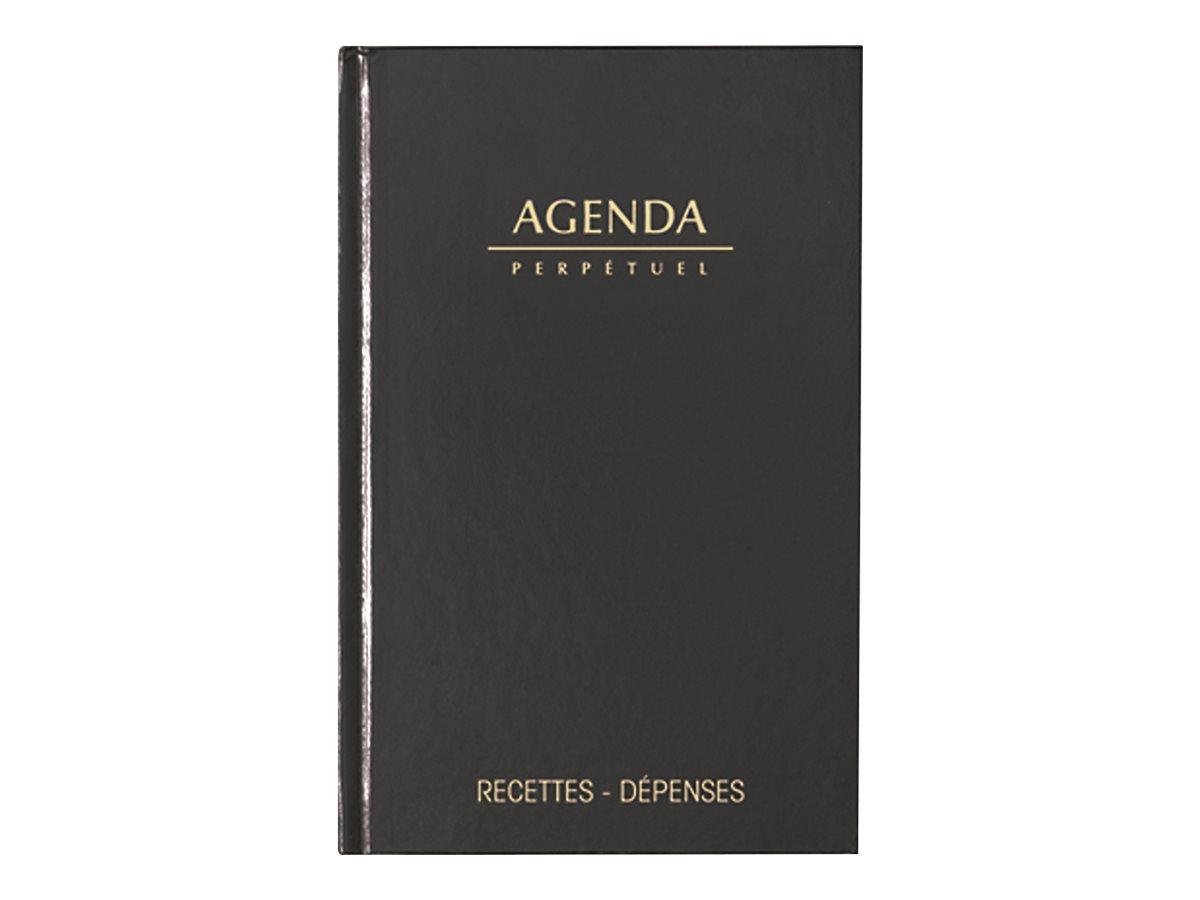 Agenda Perpétuel de Caisse - 1 jour par page - 14 x 22 cm - noir - Lecas