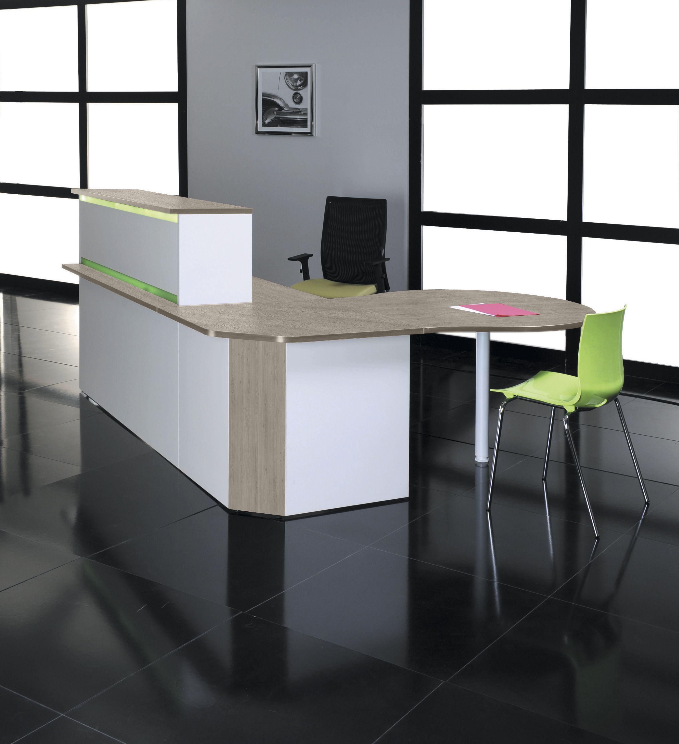 Banque d'accueil LUMINA - sans réhausse - L160 x H75 x P80 cm - Finition chêne gris/blanc