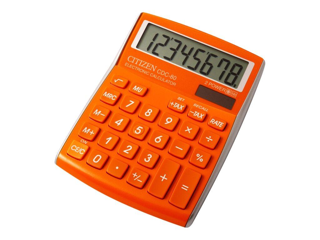 Calculatrice de bureau Citizen CDC-80 - 8 chiffres - alimentation batterie et solaire - orange