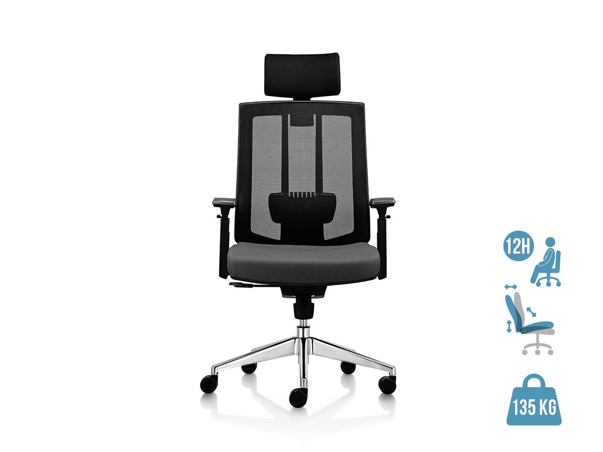 Fauteuil de bureau ergonomique SHADE - accoudoirs réglables - appuie-tête réglable - noir et gris