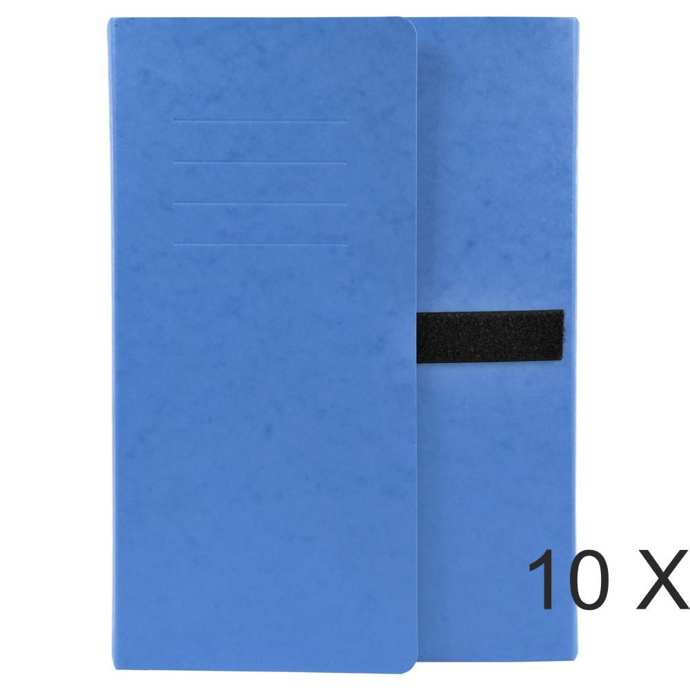 Exacompta - 10 Chemises extensibles 3 rabats à sangle - bleu