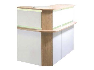 Banque d'accueil LUMINA - avec réhausse - L100 x H115 x P80 cm - Bande translucide Blanche - Finition chêne clair/blanc