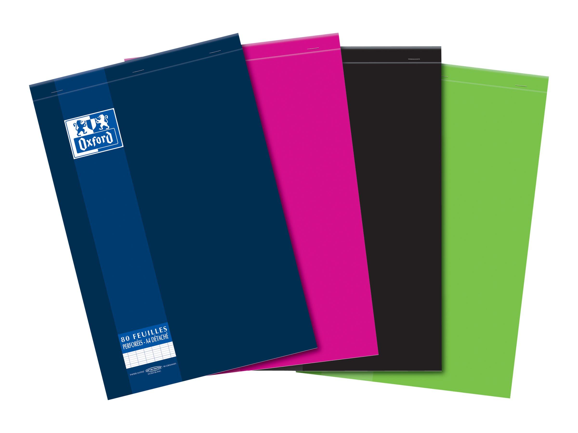 Oxford School - Bloc notes détachables - A4 - 160 pages - grands carreaux - perforé