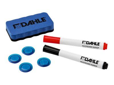 DAHLE - Kit d'effaçage comprenant 1 brosse magnétique + 4 aimants 30 mm + 2 marqueurs