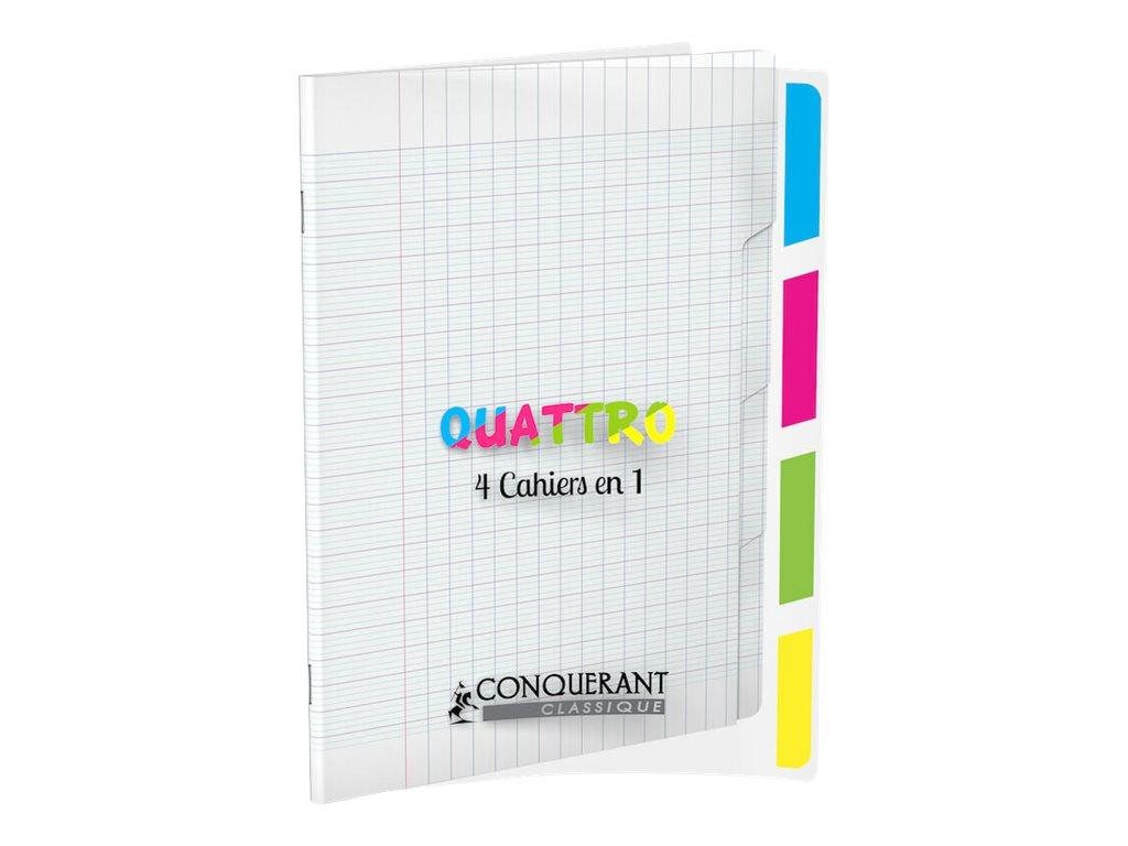 Conquérant Classique Quattro - Cahier 4 en 1 - 17 x 22 cm - 140 pages - grands carreaux (Seyes) - transparent