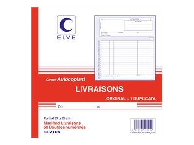 ELVE - Manifold Carnet de livraisons - 50 dupli - 21 x 21 cm