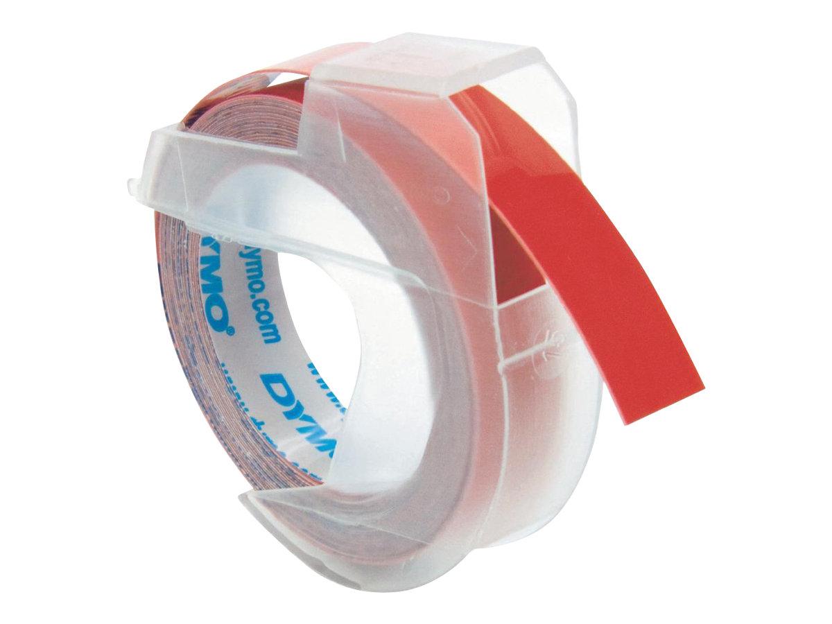 Dymo - Ruban d'étiquettes auto-adhésives 3D - 1 rouleau (9 mm x 3 m) - fond rouge