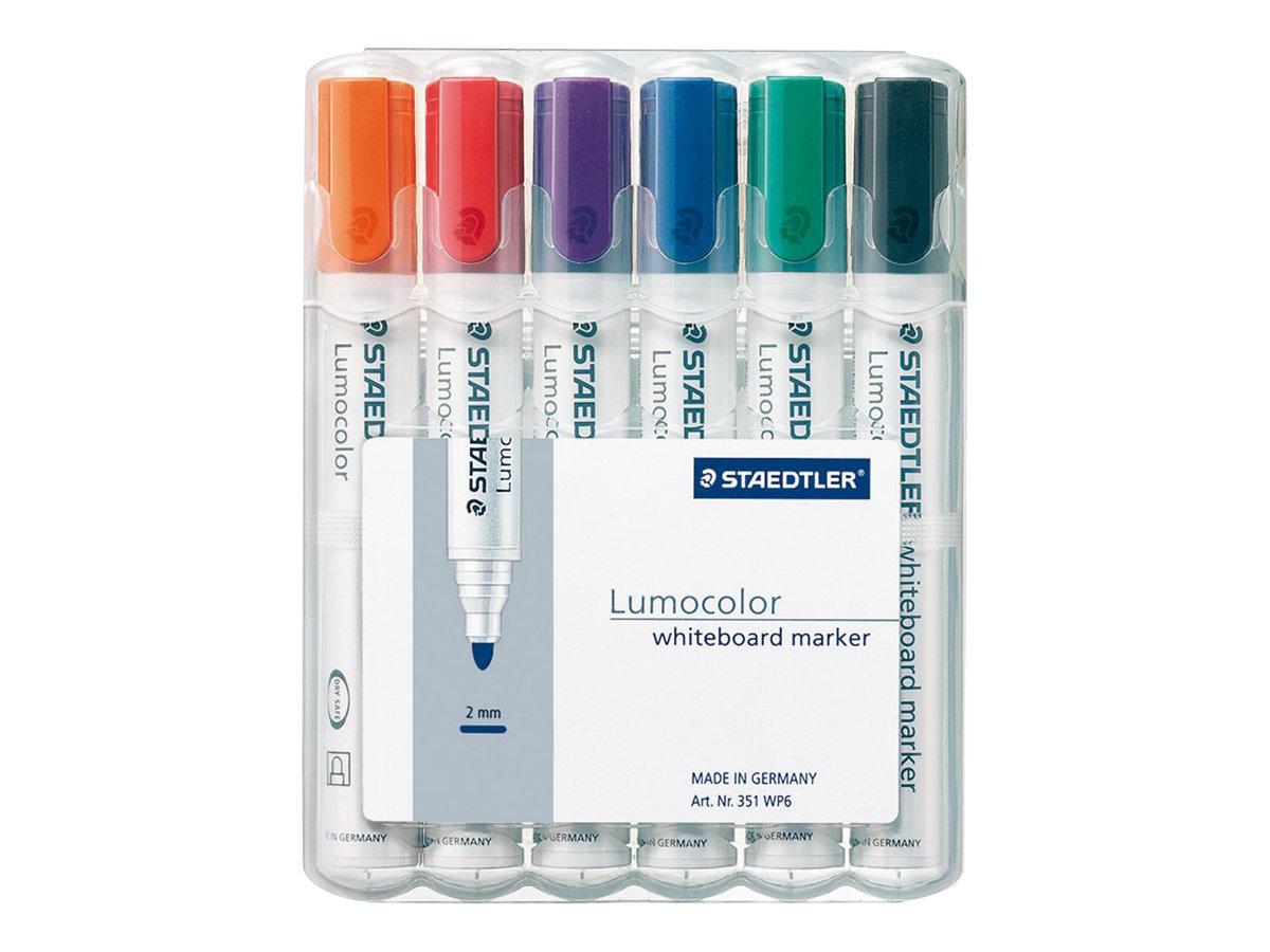 STAEDTLER LUMOCOLOR 351 - Pack de 6 marqueurs effaçables - pointe ogive - couleurs assorties
