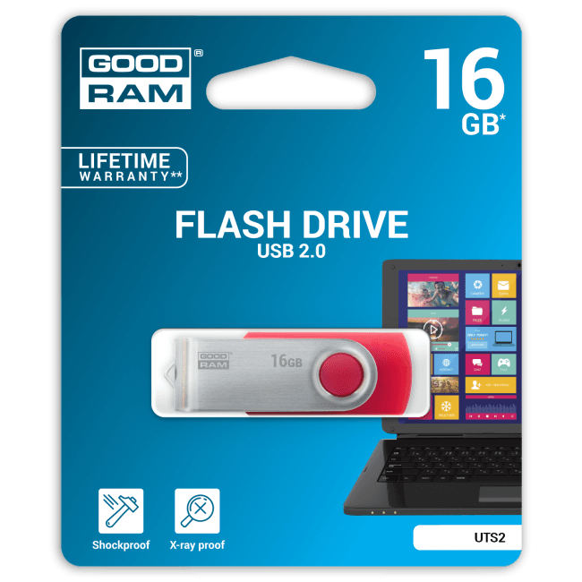 Goodram TWISTER - Clé USB - 16 Go - USB 2.0 - rouge