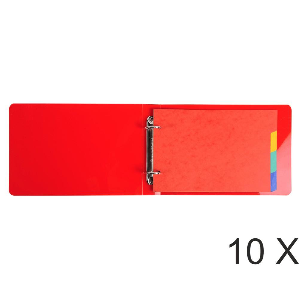 Exacompta - 10 Classeurs 2 anneaux - Dos 40 mm - pour fiches bristol 14,8 x 21 cm - disponible dans différentes couleurs