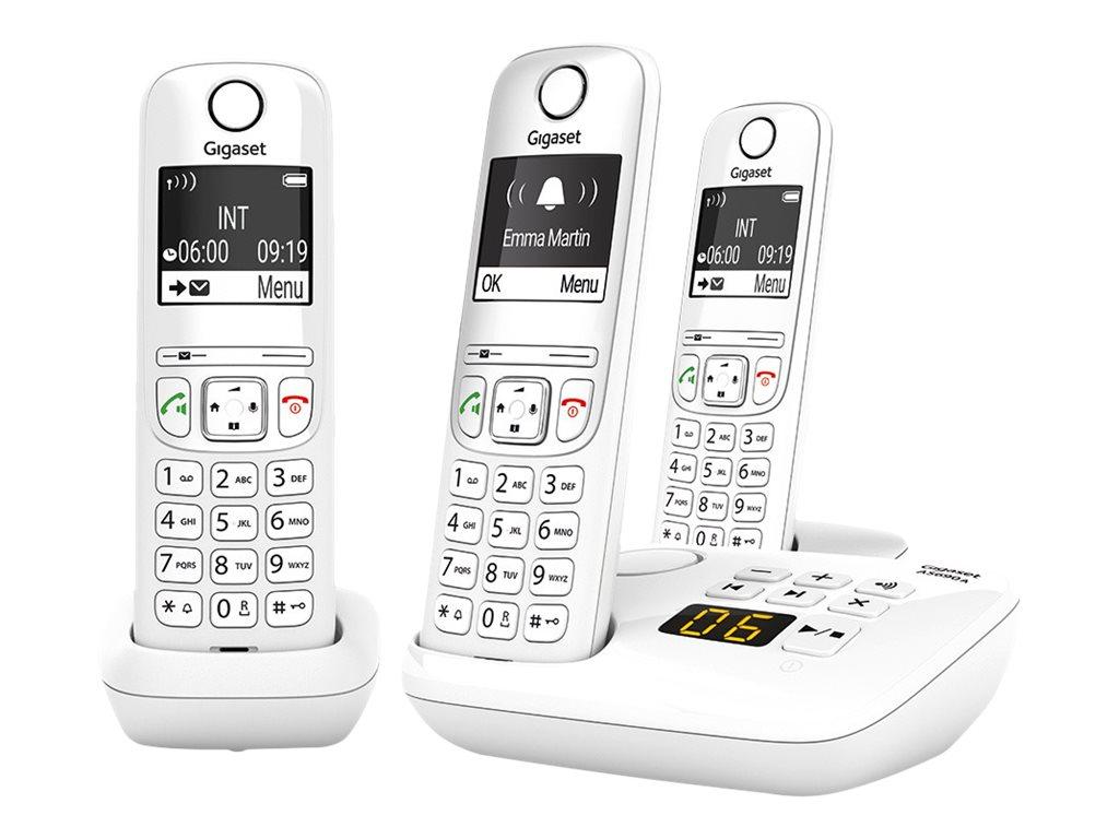 Gigaset AS690A Trio - téléphone sans fil + 2 combinés supplémentaires - avec répondeur - blanc