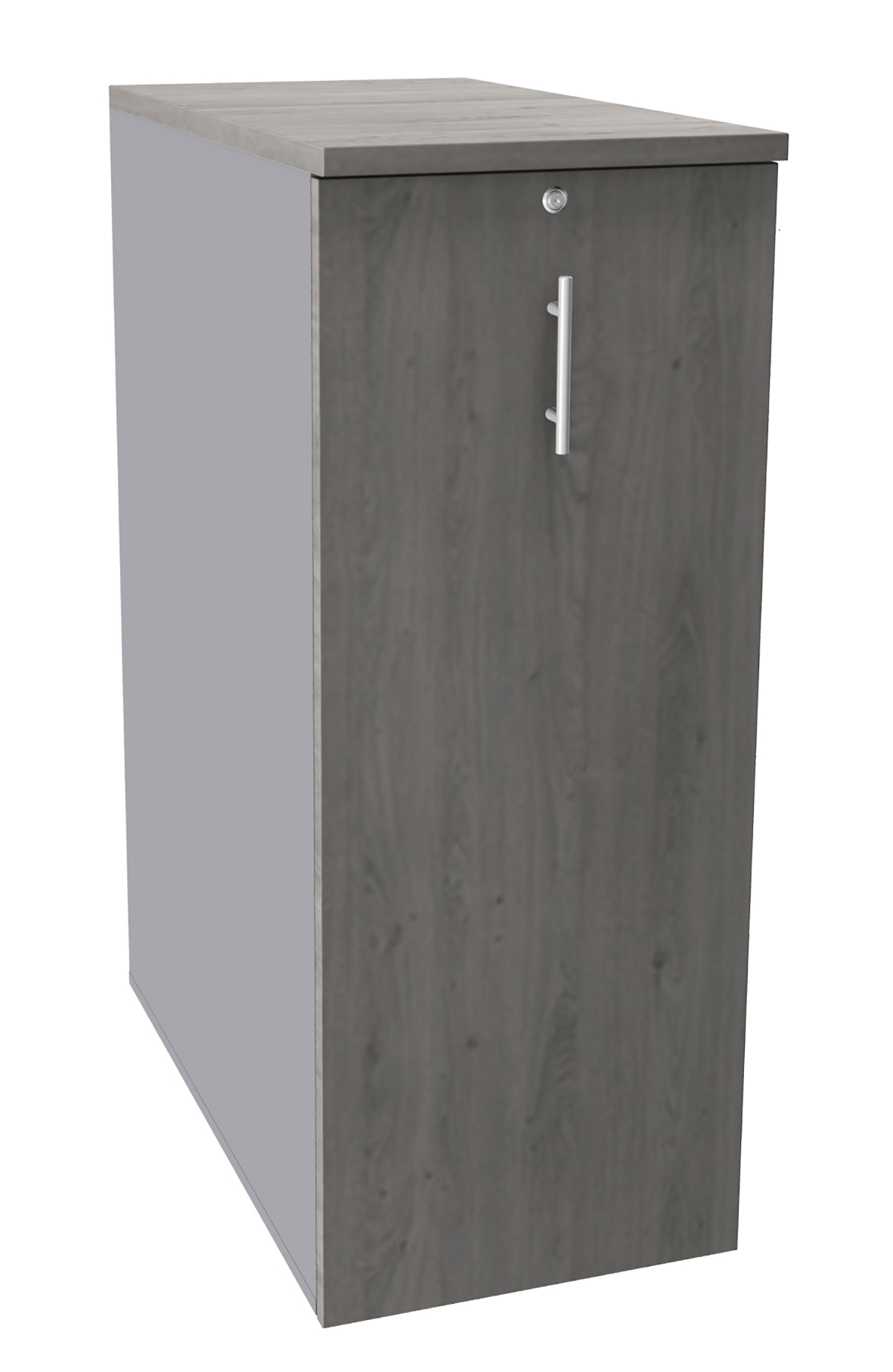 Caisson TOWER - L44 x H114 x P80 cm - 3 tablettes + 1 support DS réglable - structure alu - dessus et façade imitation chêne gris