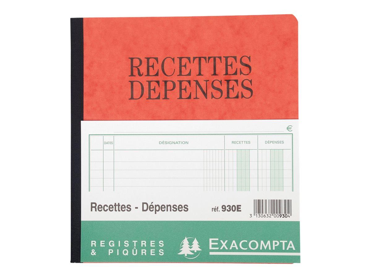 Exacompta - Registre des recettes/dépenses - 21 x 19 cm - 80 pages
