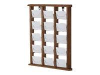 Promocome - Présentoir de cartes de visite mural - 3 x 5 compartiments - finition bois naturel