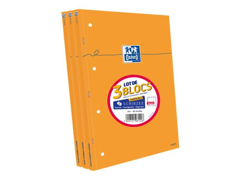 Oxford - Pack de 3 Blocs notes - A4 - 160 pages - grands carreaux - perforés