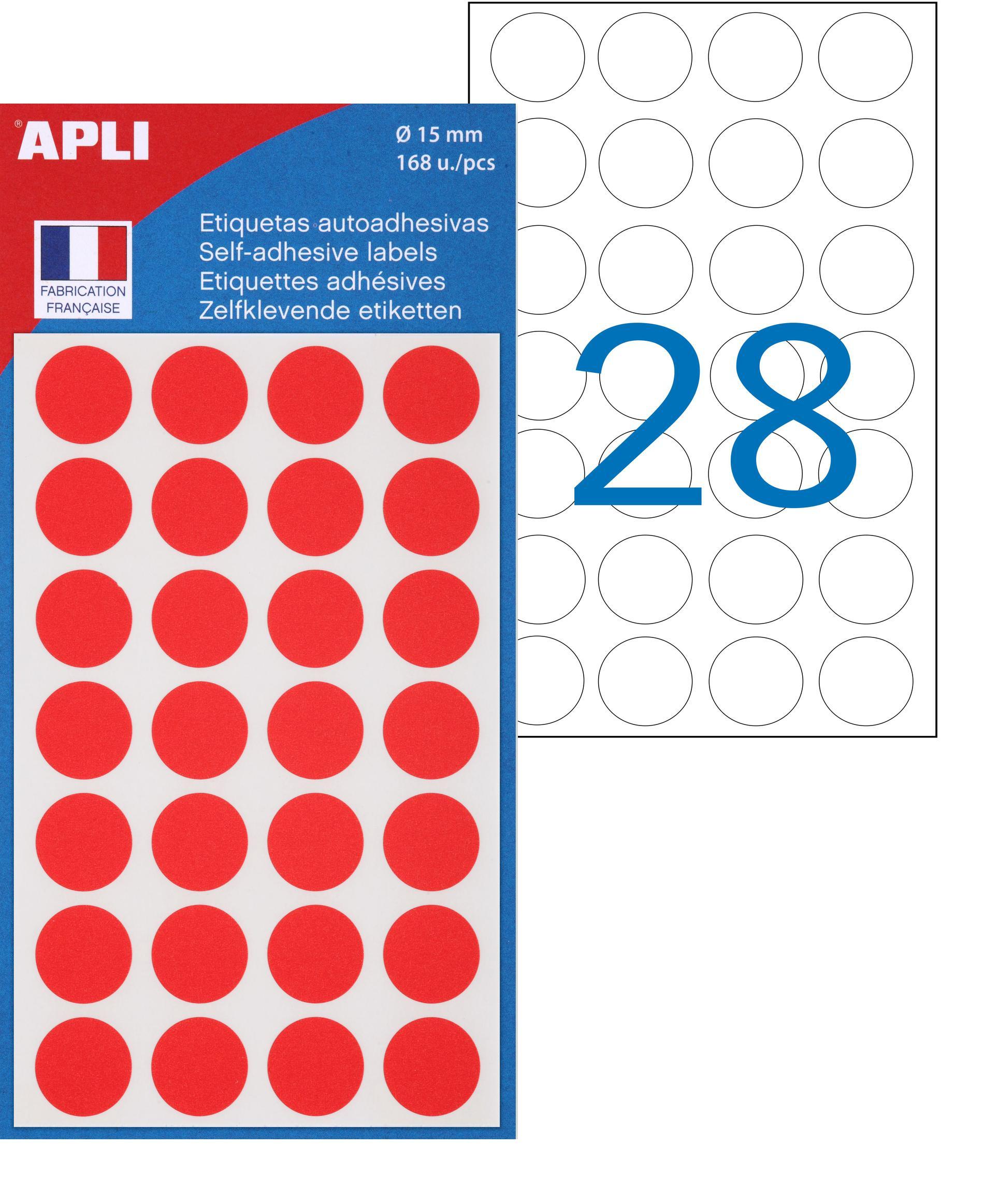 Apli Agipa - 168 Pastilles adhésives - rouge - diamètre 15 mm - réf 111843