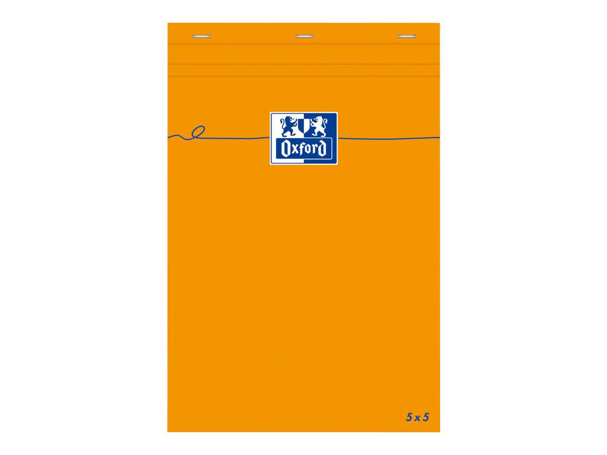 Oxford - Bloc notes - 8,5 x 21 cm - 160 pages - petits carreaux - 80G - orange