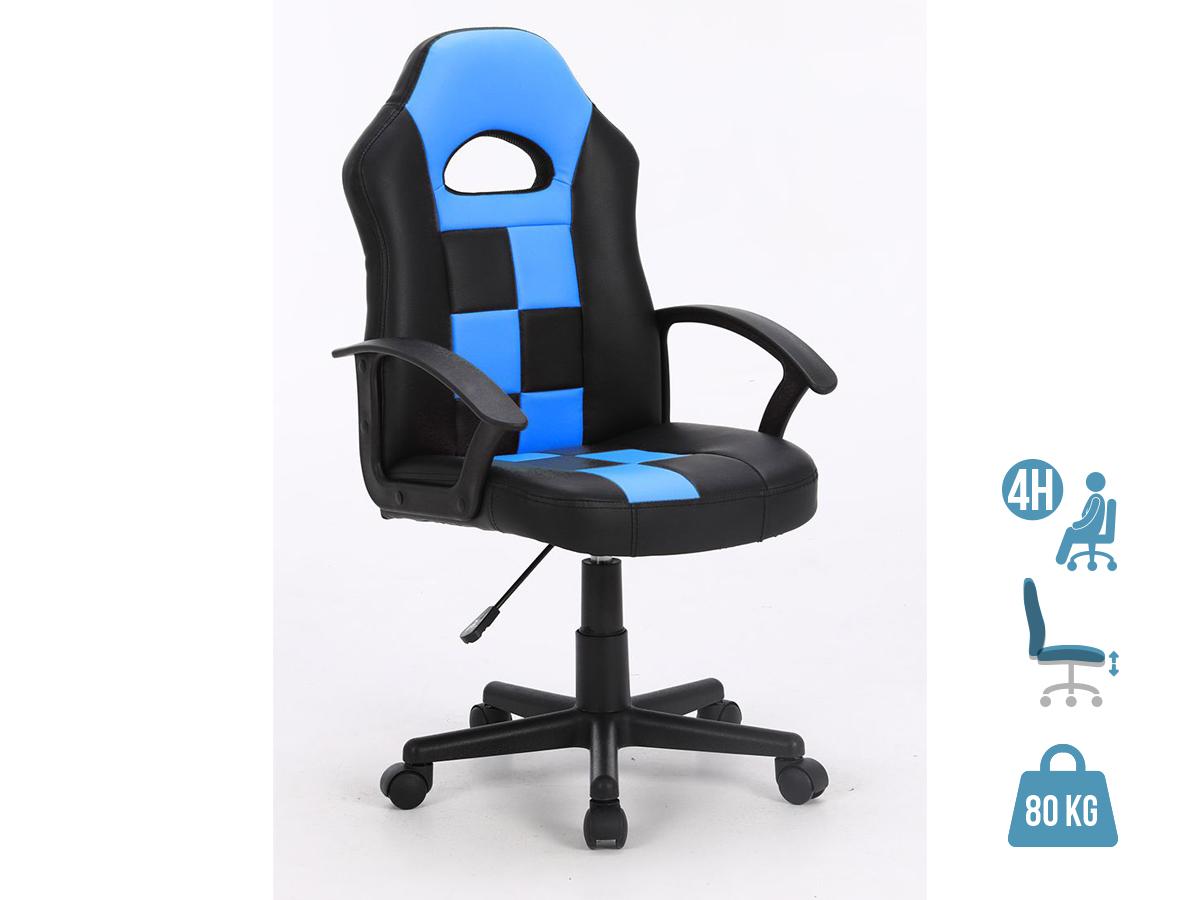 Fauteuil gamer FORMULE 1 - accoudoirs fixes - Noir et bleu