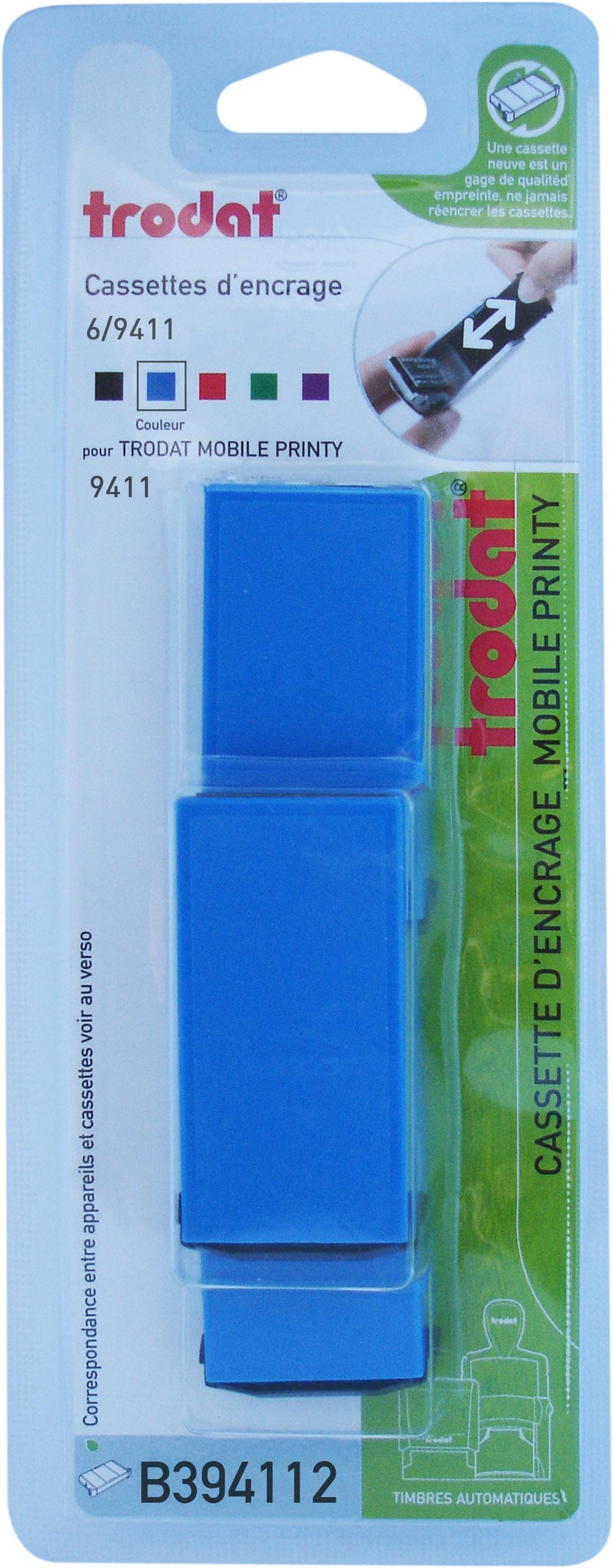 Trodat - 3 Encriers 6/9411 recharges pour tampon Mobile Printy 9411 - bleu