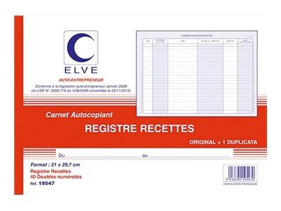 ELVE - Manifold Carnet de recettes/dépenses auto-entrepreneurs - 40 dupli - A4