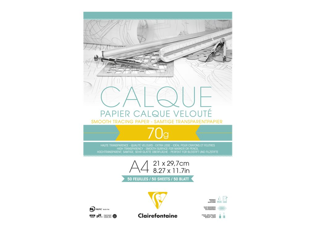 Clairefontaine - Fine Arts - bloc dessin calque - 50 feuilles - A4 - 70G - blanc