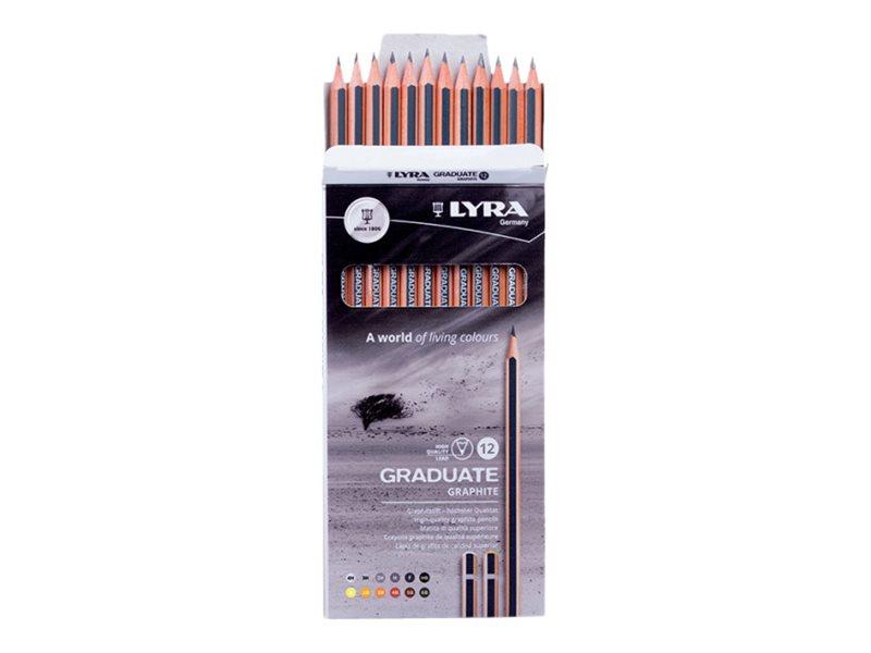 Lyra Graduate - 12 Crayons graphites - boîte métal - différentes tailles de mines