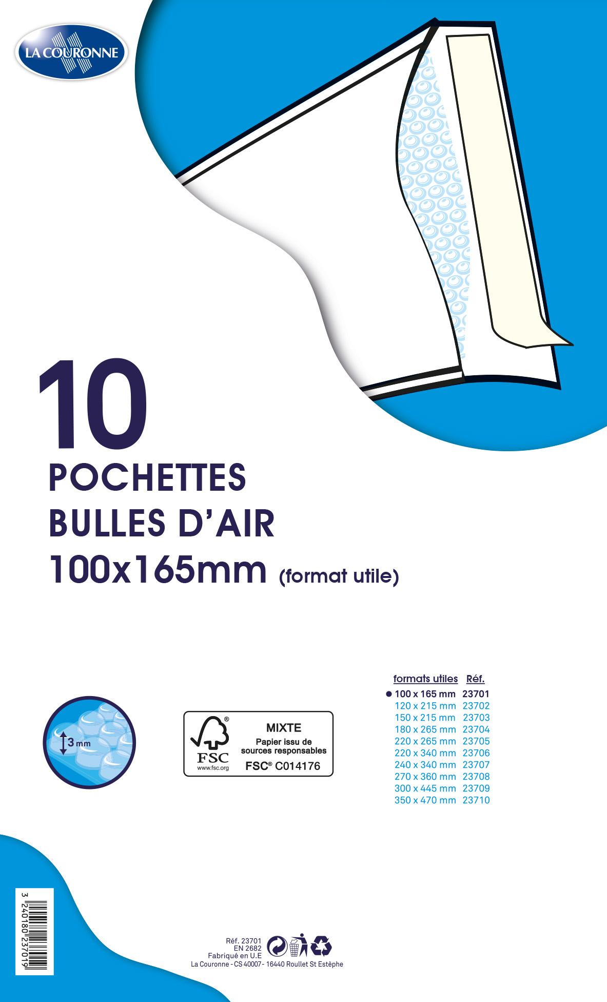 La Couronne - 10 pochettes bulles - 100 x 165 mm - autocollant - blanc