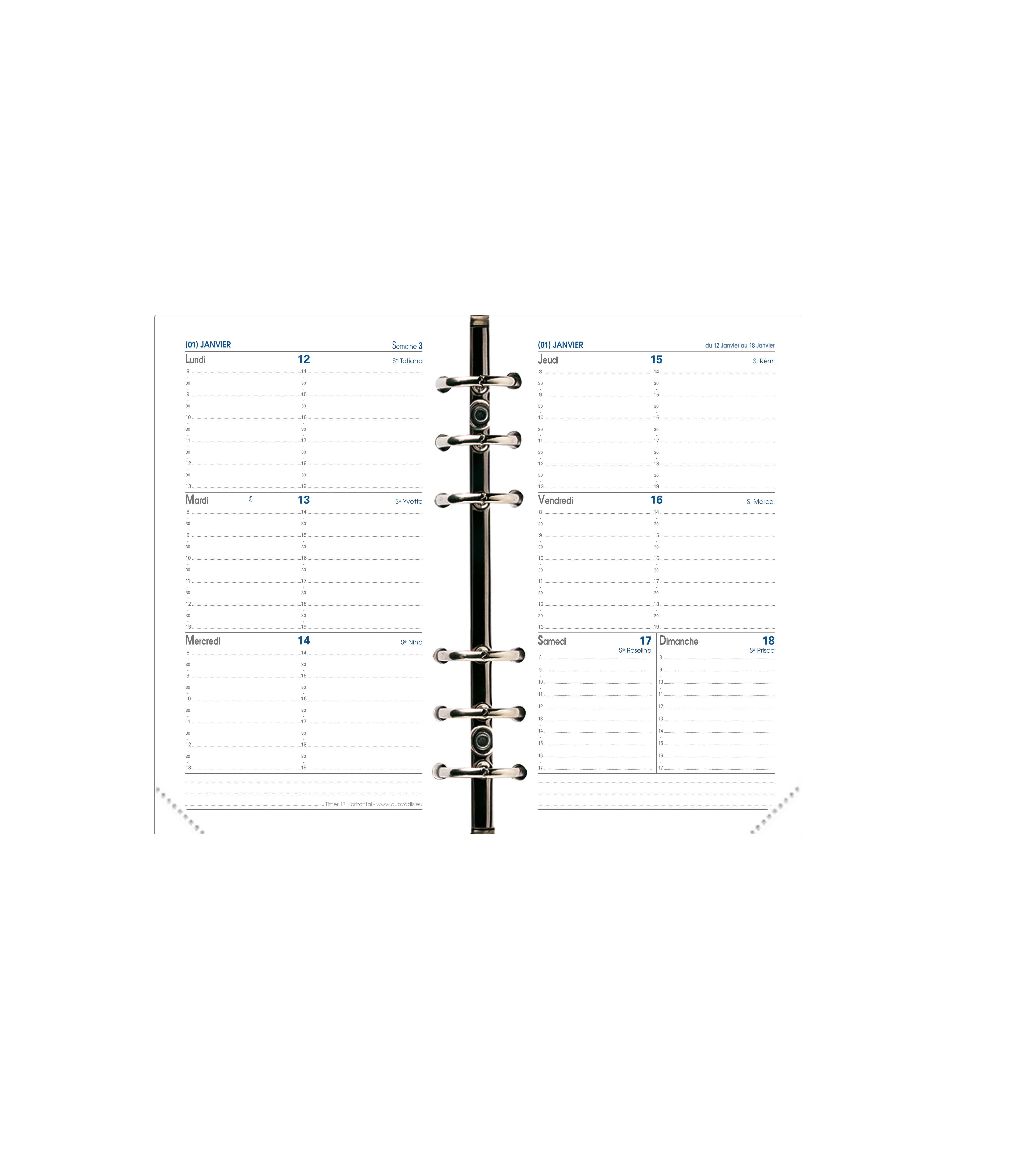 Quo Vadis Timer 17 Horizontal - Recharge pour organiseur - 1 semaine sur 2 pages - 10 x 17 cm