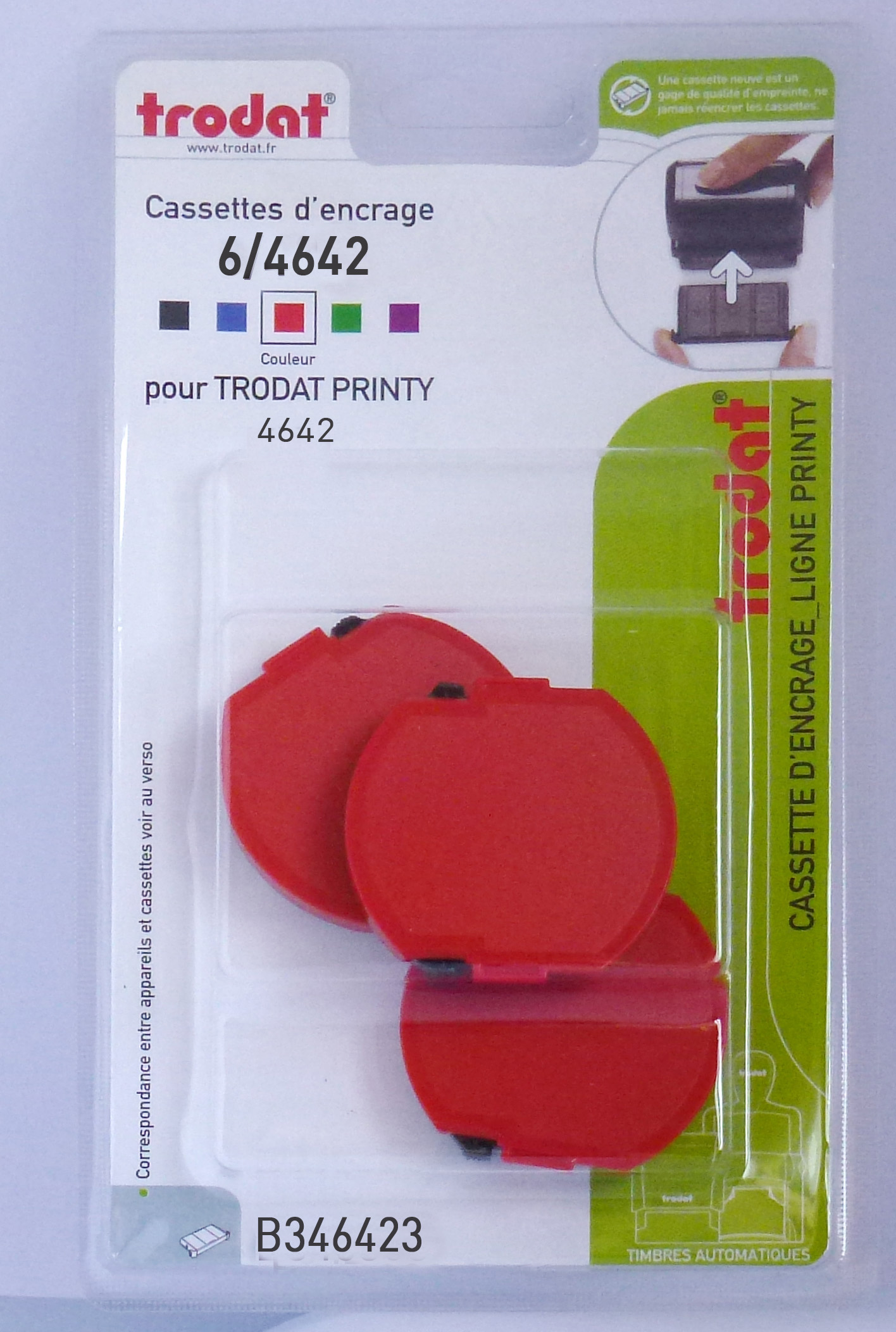 Trodat - 3 Encriers 6/4642 recharges pour tampon Printy 4642 - rouge