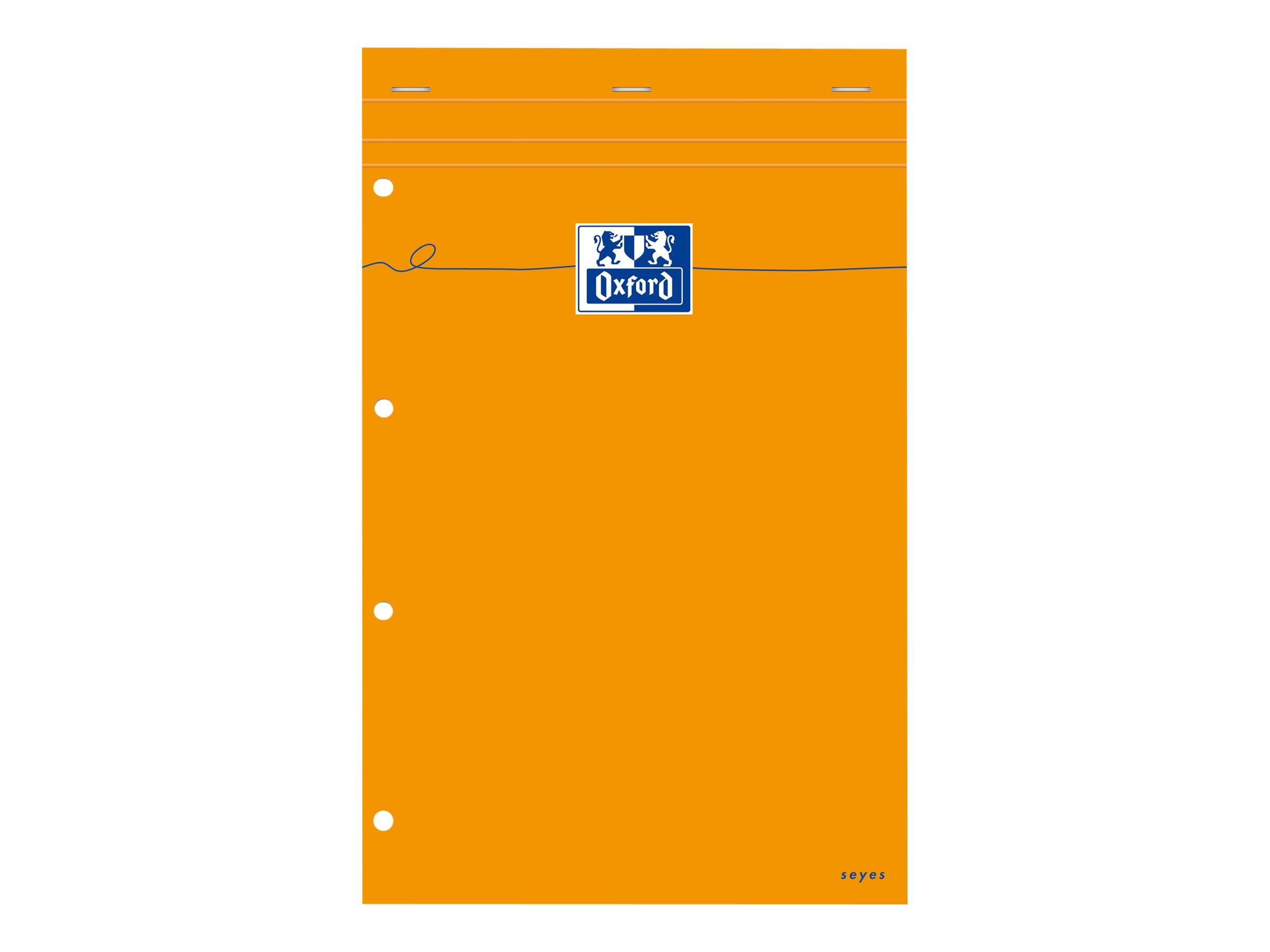 Oxford - Bloc notes - A4 + - 160 pages - grands carreaux - perforé - orange