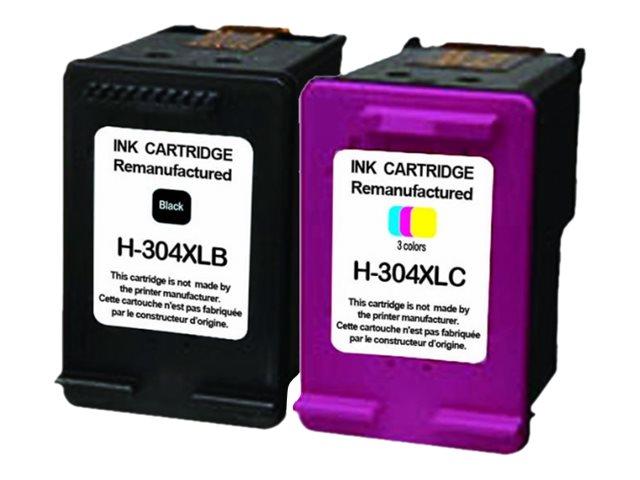 HP 304XL - remanufacturé UPrint H.304XL - Pack de 2 - noir, cyan, magenta, jaune - cartouche d'encre