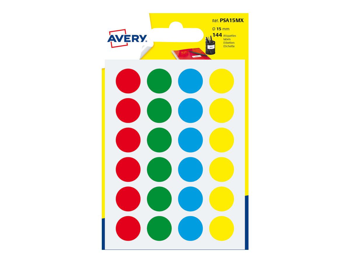 Avery - 144 Pastilles adhésives - couleurs assorties - diamètre 15 mm
