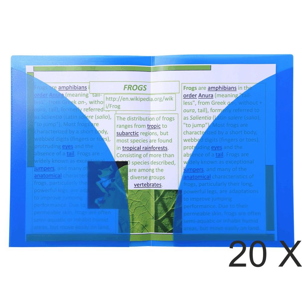 Exacompta - 20 Chemises double poche polypro semi rigide - A4/A3 - bleu