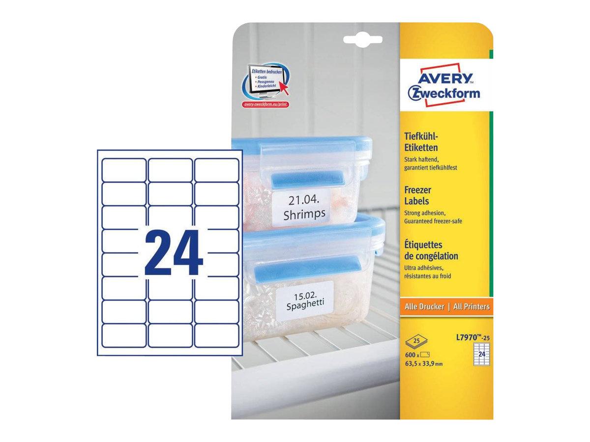 Avery - 25 Étiquettes de congélation blanches - 63,5 x 33,9 mm