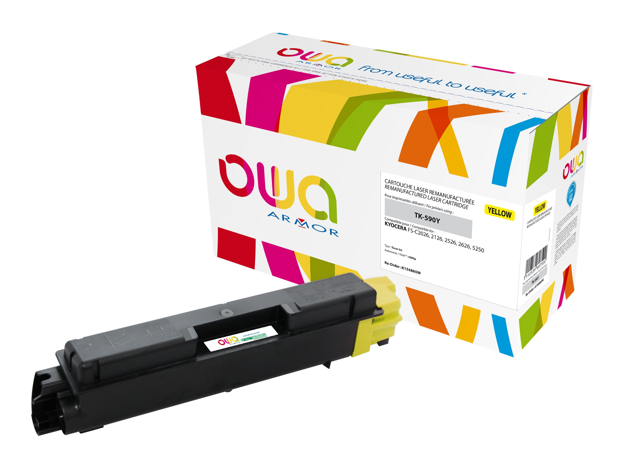 Kyocera TK-590 - remanufacturé Owa K15488OW - jaune - cartouche laser