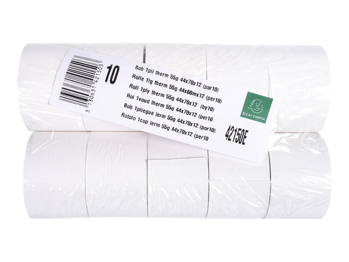 Exacompta - 10 Bobines caisses - papier thermique 44 x 70 x 12 mm - sans Bisphénol A