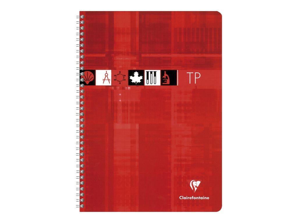 Clairefontaine - Cahier spiralé de travaux pratiques (TP) - A4 (21x29,7 cm) - 80 pages - grands carreaux (Seyes)/uni - disponible dans différentes couleurs