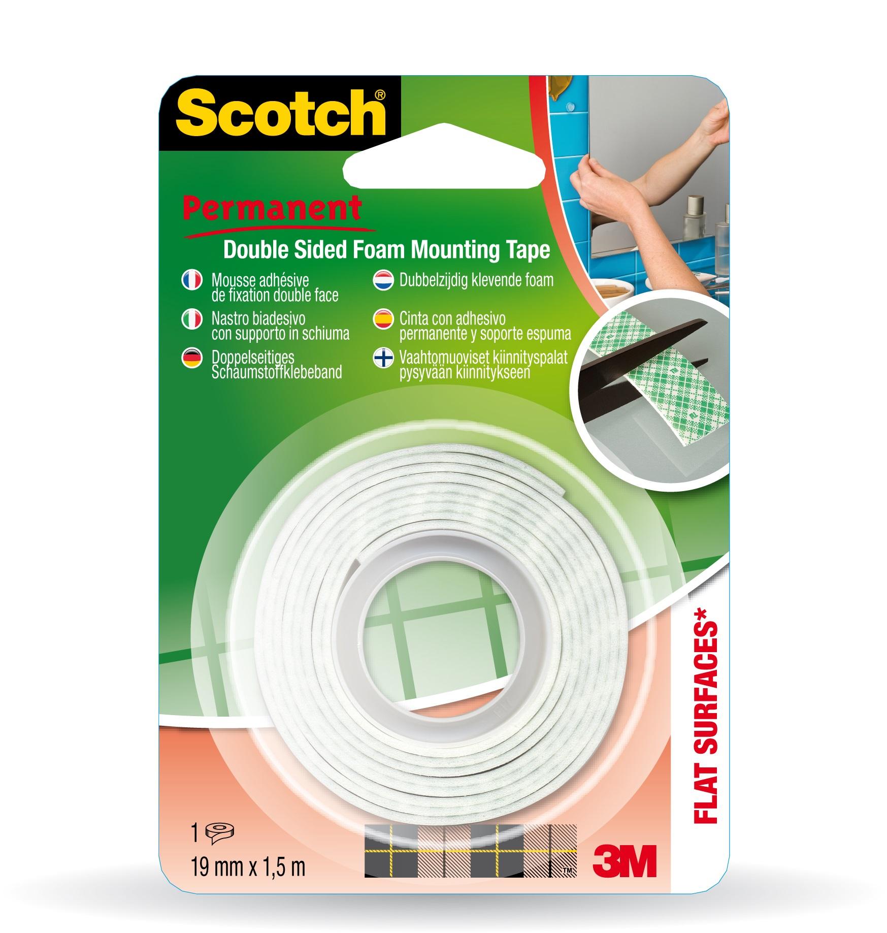 Scotch - Ruban de fixation - Mousse adhésive - 19 mm x 1,5 m