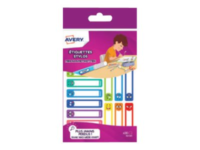 Avery - 30 Étiquettes adhésives pour stylos coloris pastels - 50 x 10 mm
