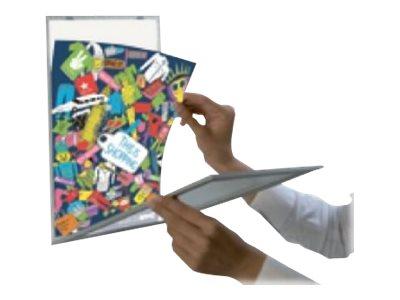 Promocome - Porte-visuel d'information adhésif gris