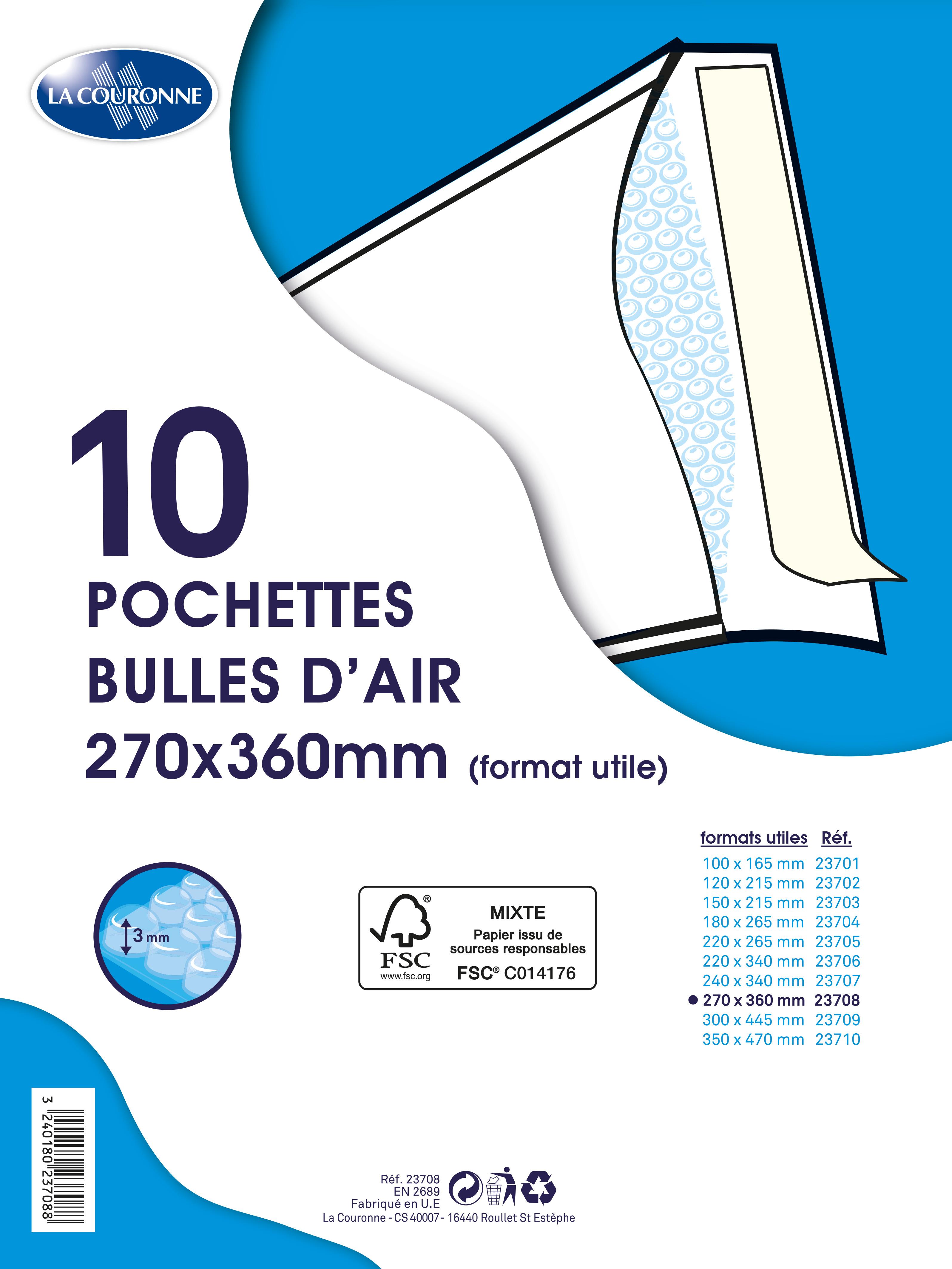 La Couronne - 10 Pochettes bulles - 270 x 360 mm - autocollant - blanc