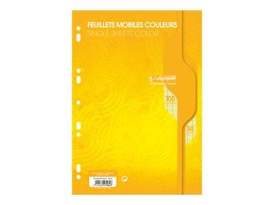 Calligraphe - 100 feuilles simples A4 - grands carreaux (Seyes) - perforées - jaune