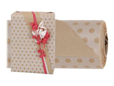 Logistipack - Papier cadeau kraft - 70 cm x 40 m - 60 g/m² - motif pois