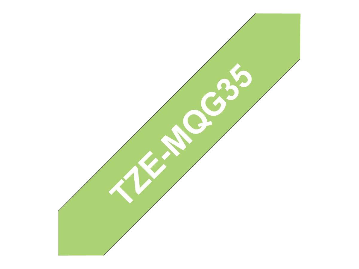 Brother TZeMQG35 - Ruban d'étiquettes auto-adhésives - 1 rouleau (12 mm x 8 m) - fond vert écriture blanche - mat