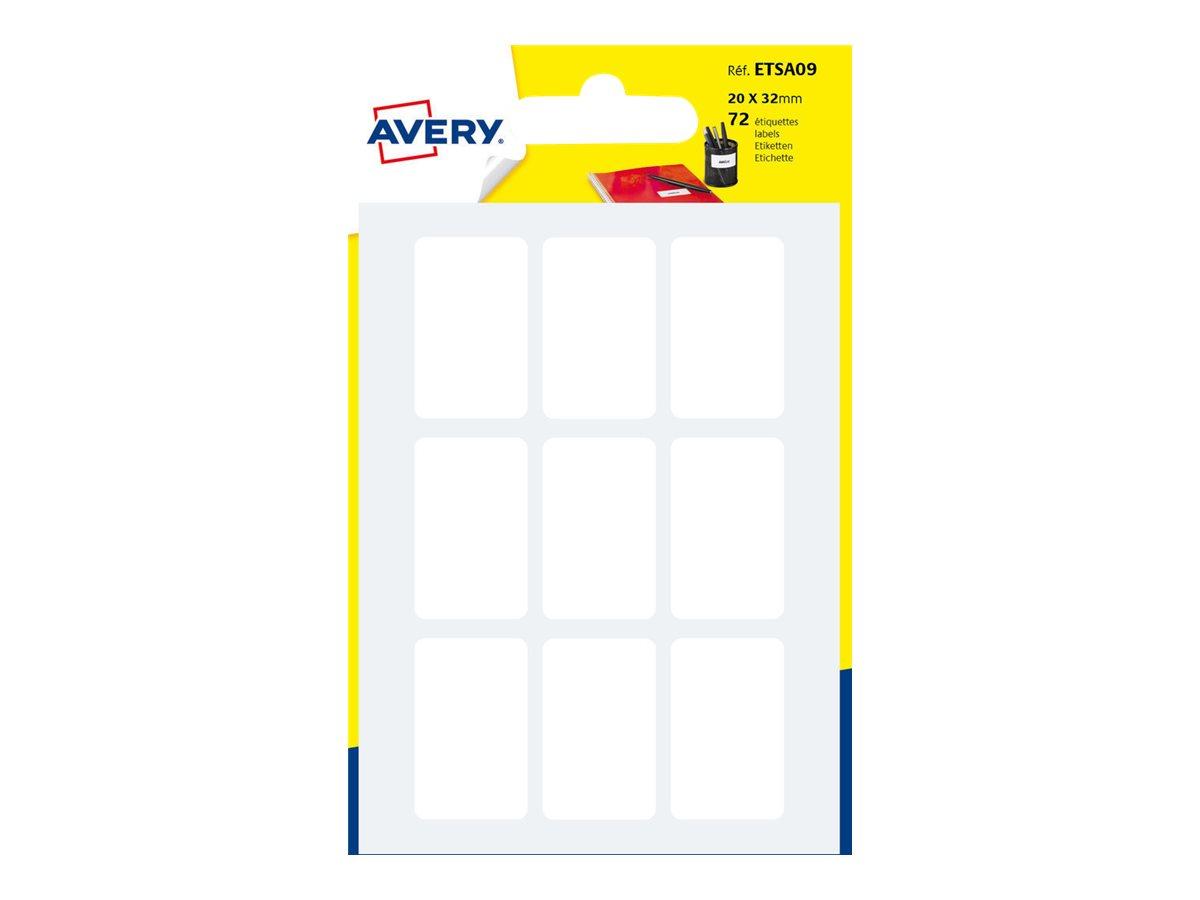 Avery - 72 Étiquettes multi-usages blanches - 20 x 32 mm - réf ETSA09